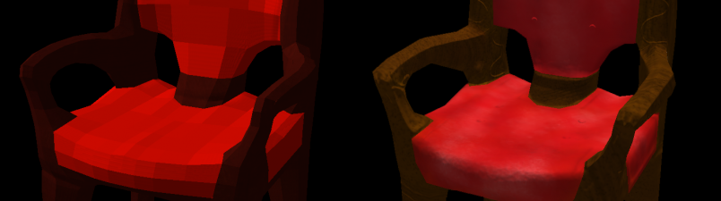 A comparison of two chairs, one with normals mapping and one without