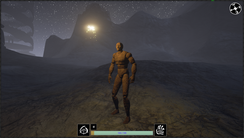A screen grab from a demo level showing the default UE character model with a rust material.